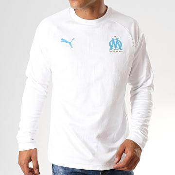 Tee Shirt Manches Longues OM Training 756206 Blanc Bleu Clair