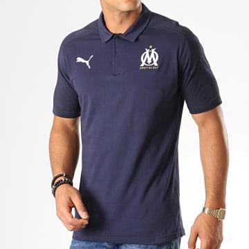 Polo Manches Courtes OM Sideline 756414 Bleu Marine Blanc