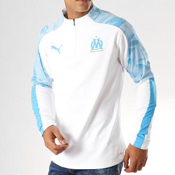 Puma - Sweat Col Zippé OM Training Fleece 755843 Blanc Bleu Ciel
