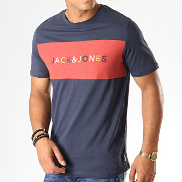 Tee Shirt Albas Bleu Marine Rouge Brique Chiné