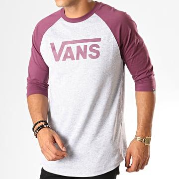 Vans - Tee Shirt Manches Longues Oversize Classic Raglan VN0002QQTN0 Gris Chiné Violet Prune