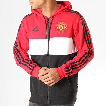 Veste Zippée Capuche A Bandes Manchester United FZ DX9084 Rouge Blanc Noir