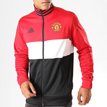 Veste De Sport Zippée Manchester United 3 Stripes DX9086 Noir Blanc Rouge