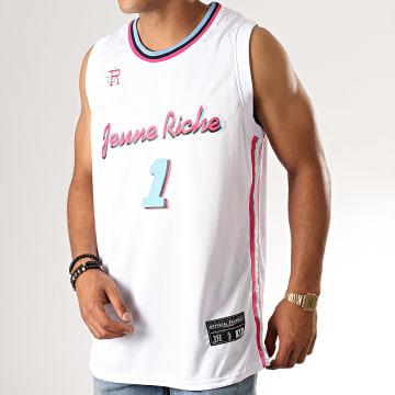 Débardeur A Bandes Jersey Miami Blanc Rose Bleu