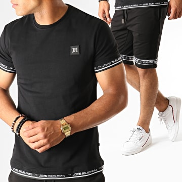 Ensemble Tee Shirt Short Jogging Set Code Noir Blanc