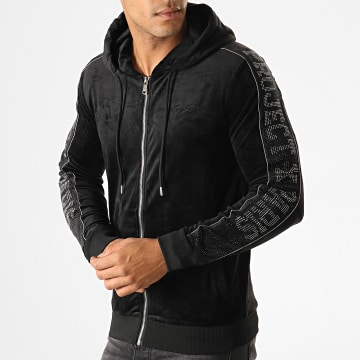 Project X - Sweat Zippé Capuche A Bandes 1930045 Noir