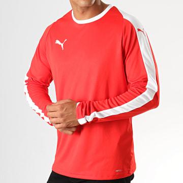 Puma - Tee Shirt Manches Longues A Bandes LIGA 703419 Rouge