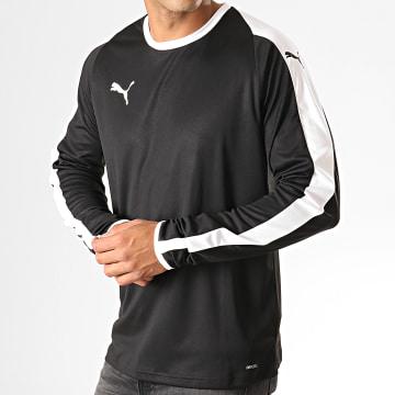 Puma - Tee Shirt Manches Longues A Bandes LIGA 703419 Noir