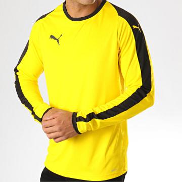 Puma - Tee Shirt Manches Longues A Bandes LIGA 703419 Jaune