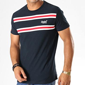 Tee Shirt Orange Label Herringbone Stripe M1000018A Bleu Marine Rouge Blanc