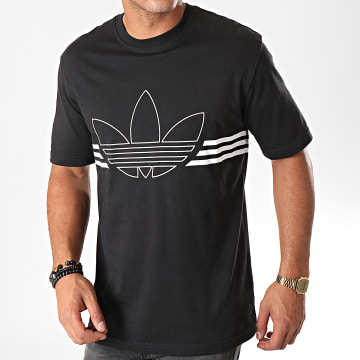 Adidas Originals - Tee Shirt Outline Trefoil ED4698 Noir Blanc