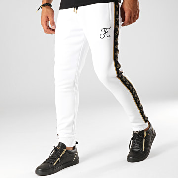 Pantalon Jogging Gold Label Avec Bandes Et Broderie Or 277 Blanc