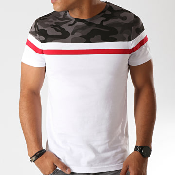 LBO - Tee Shirt Tricolore 802 Camo Gris Rouge Blanc