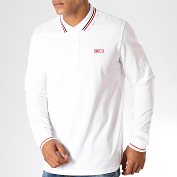 HUGO by Hugo Boss - Polo Manches Longues Reverse Logo Donol194 50414189 Blanc Rouge Noir