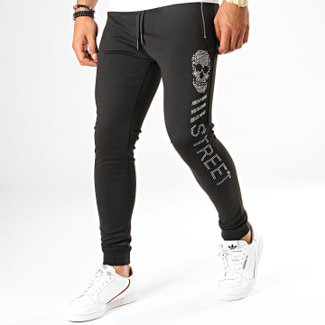 King Off - Pantalon Jogging 2270 Noir Argenté