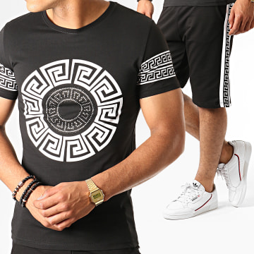 Ensemble Tee Shirt Short A Bandes ESH10-ES10 Noir Renaissance