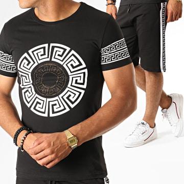 Ensemble Tee Shirt Short Jogging A Bandes Renaissance ESH10 Noir Blanc