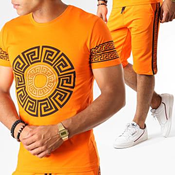 Ensemble Tee Shirt Short Jogging A Bandes Renaissance ESH10 Orange Noir