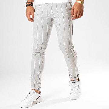 Classic Series - Pantalon Chino A Rayures M-3181 Gris Clair Chiné Blanc Bleu