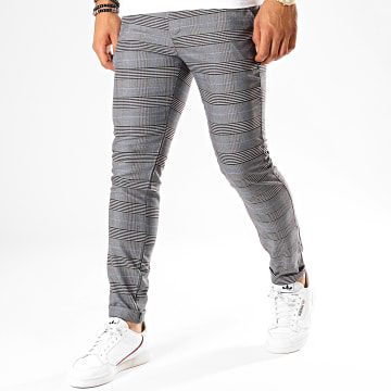 Classic Series - Pantalon A Carreaux M-3184 Gris Anthracite Bleu