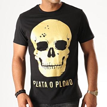 Lacrim - Tee Shirt Plata O Plomo 1 Noir Doré