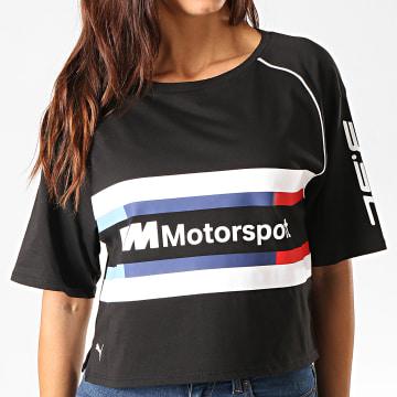 Tee Shirt Crop Femme A bandes BMW Motorsport Street 595721 Noir