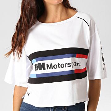 Tee Shirt Crop Femme A Bandes BMW Motorsport Street 595721 Blanc