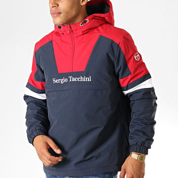Sergio Tacchini - Veste Col Zippé Capuche Defoe 38366 Bleu Marine Rouge Blanc