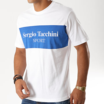 Sergio Tacchini - Tee Shirt Daniken 38363 Blanc Bleu Roi