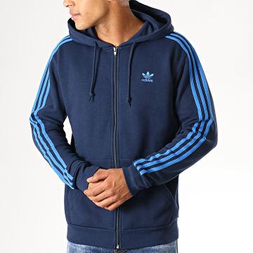 Sweat Zippé Capuche 3 Stripes EK0259 Bleu Marine Bleu Roi