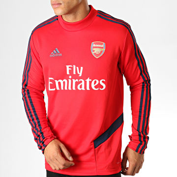 Maillot De Foot Manches Longues A Bandes Arsenal EH5719 Rouge Bleu Marine