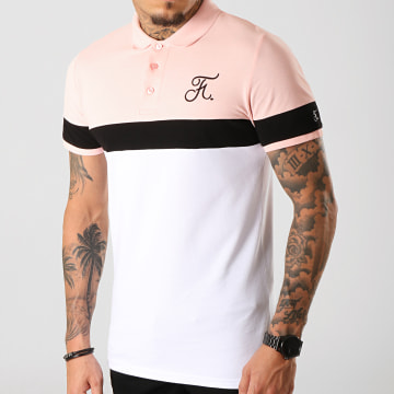 Final Club - Polo Tricolore Avec Broderie 272 Blanc Noir Rose