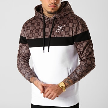 Final Club - Sweat Capuche Damier Avec Broderie 286 Marron Noir Blanc