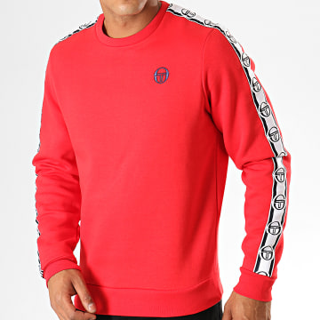 Sweat Crewneck A Bandes Delaco Rouge