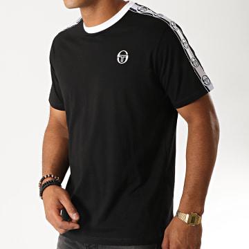 Sergio Tacchini - Tee Shirt A Bandes Dahoma 38315 Noir Blanc