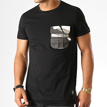 Sixth June - Tee Shirt Poche Camouflage 3886CTS Noir
