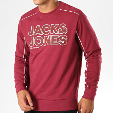 Sweat Crewneck A Bandes Sharp Bordeaux Blanc
