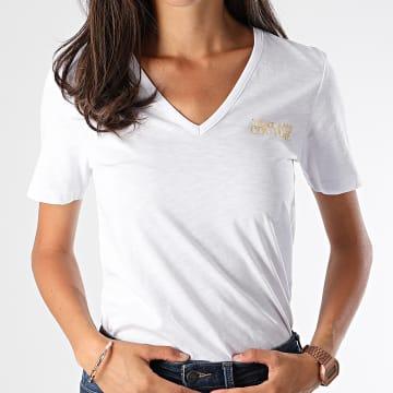 Versace Jeans Couture - Tee Shirt Col V Femme B2HUA7IT-30212 Blanc Chiné Doré
