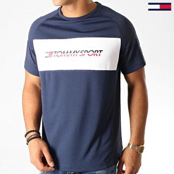 Tommy Sport - Tee Shirt Performance Mesh 0199 Bleu Marine Blanc