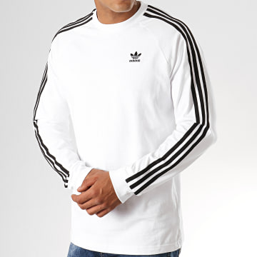 Adidas Originals - Tee Shirt Manches Longues 3 Stripes ED5959 Blanc Noir
