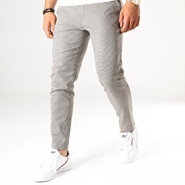 Celio - Pantalon Slim A Carreaux Pomacaire2 Beige Noir