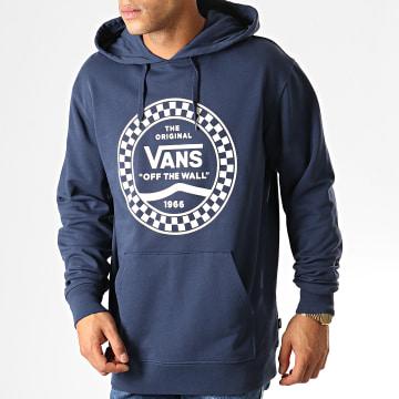 Vans - Sweat Capuche Checkered Side Stripe Front 56QLKZ Bleu Marine Blanc
