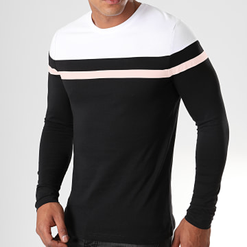 Tee Shirt Manches Longues Tricolore 821 Blanc Rose Pale Noir