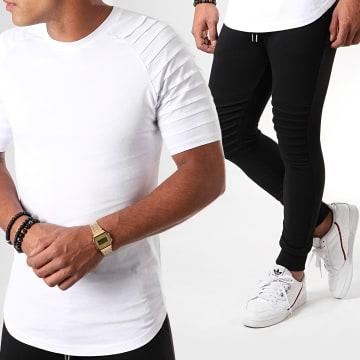 Ensemble Tee Shirt Et Pantalon Jogging Bicolore 824 Noir Blanc