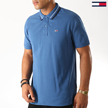 Tommy Jeans - Polo Manches Courtes Classics Tipped Stretch 7195 Bleu Clair