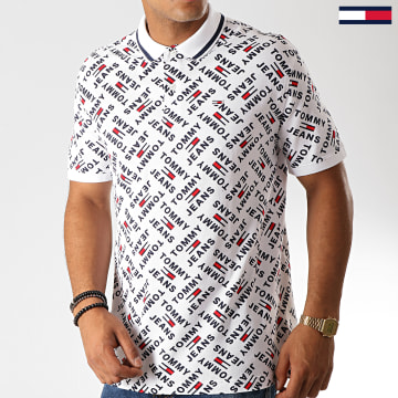 Polo Manches Courtes All Over Print 6945 Blanc