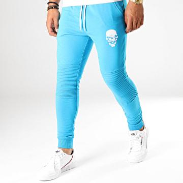 Untouchable - Pantalon Jogging Skull Bleu Turquoise Blanc
