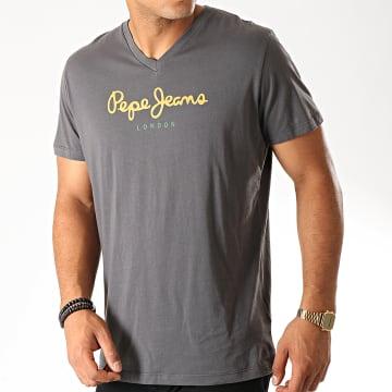 Pepe Jeans - Tee Shirt Col V Eggo V Gris Anthracite