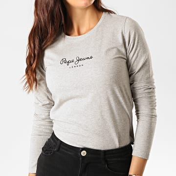 Tee Shirt Manches Longues Femme New Virginia Gris Chiné