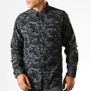 Chemise Manches Longues Camouflage York Gris Noir